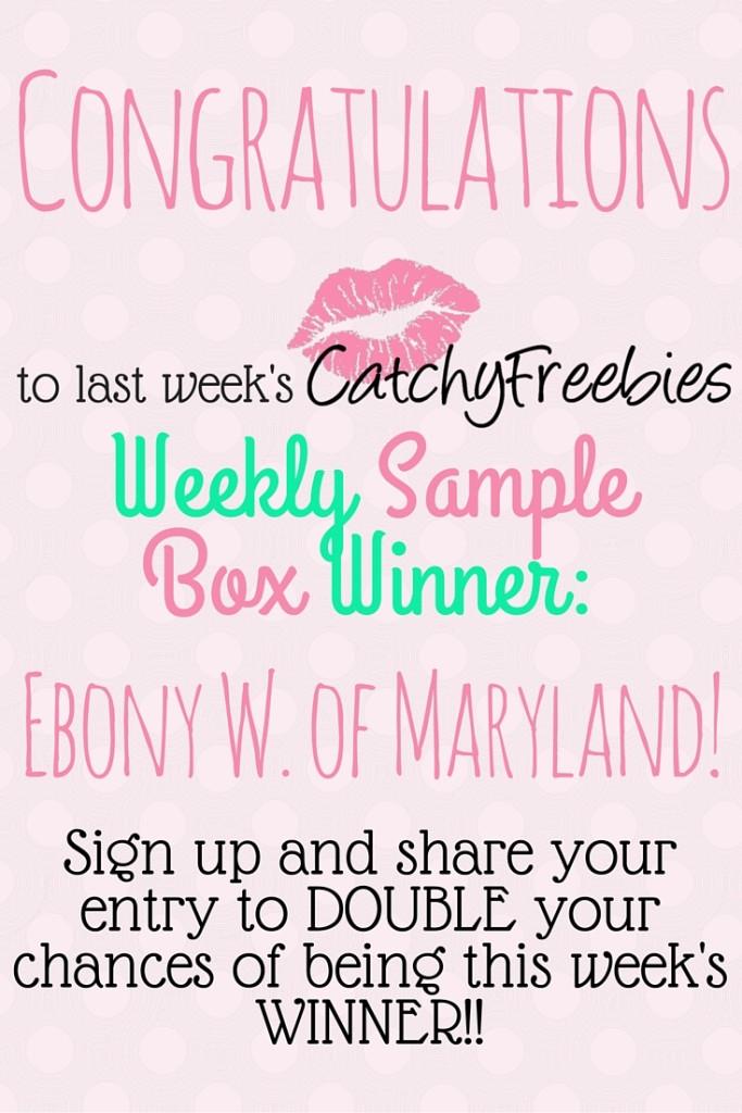 weekly sample box giveaway winner catchyfreebies pint
